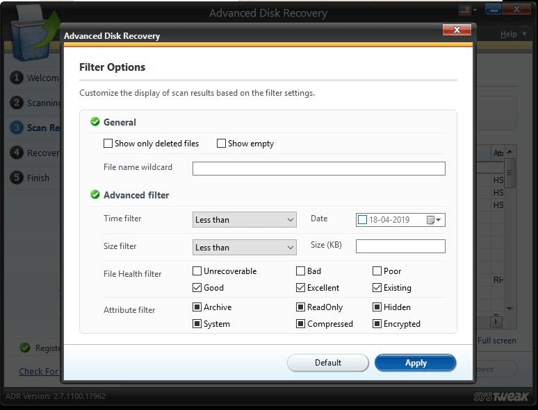 filter to recover deleted videos